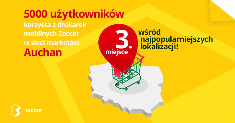 Ponad 5000 użytkowników korzysta z drukarek mobilnych Zeccer w sieci marketów Auchan!